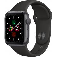 Apple Watch Series 5, 40 мм (Корпус из алюминия цвета «серый космос», спортивный ремешок чёрного цвета)