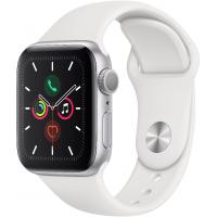 Apple Watch Series 5, 40 мм (Корпус из алюминия серебристого цвета, спортивный ремешок белого цвета)