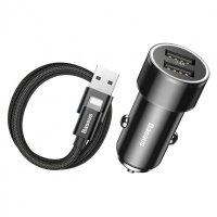 Автомобильная зарядка USB-Lightnting 3.4A Dual-USB Car Charging Set Black (TZXLD-A01)