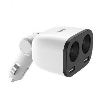 Автомобильное зарядное устройство HOCO Z28 Power Ocean 2*USB+2*прикуриватель 3.1A 2*80 Вт (Белый)