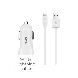 Автомобильное зарядное устройство HOCO Z2A 2*USB + Кабель USB-Lightning 2.4A (Белый)