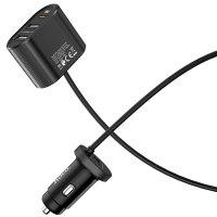 Автомобильное зарядное устройство Hoco Z35 с переходником на 3 USB и Type-C PD3.0