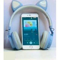 Беспроводные наушники с кошачьими ушками Wireless Headphones Cat Ear LED032 Голубые