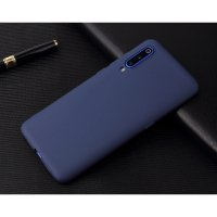 Cиликон матовый /тех.пак/ для Xiaomi Mi-9 (2019) темно-синий