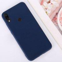 Cиликон матовый /тех.пак/ для Xiaomi Redmi 7 (2019) темно-синий