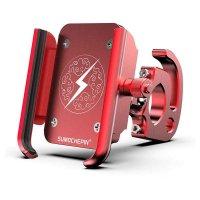 """Держатель для смартфона Sumochepin металлический 4-6"""" ширина 50-100мм 360° с крючком для сумок красный"""