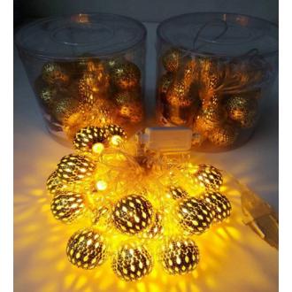 Гирлянда шар, 6 метров, золотой