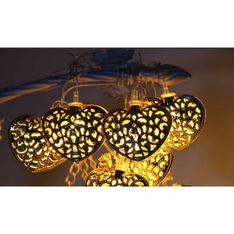 Гирлянда в форме сердца, 4 метра, золотистая