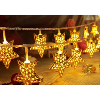 Гирлянда в форме звезды, 4 метра, золотистая
