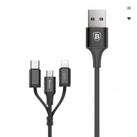 Кабель USB 3 in1 iPhone/Micro/Type-C черный