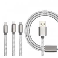 Кабель USB 3 in1 iPhone/Micro/Type-C серый