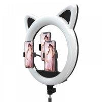 Кольцевая светодиодная лампа RK-45 с кошачьими ушками 40см, 3 держателя