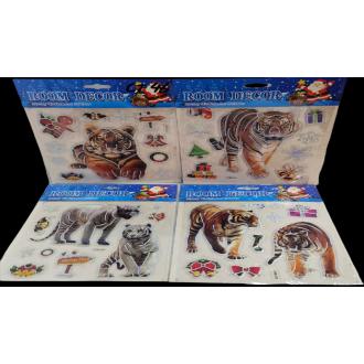 """Наклейки на стекло """"Тигры"""", новогодняя"""