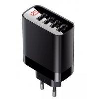 Сетевое зарядное устройство с дисплеем Baseus Mirror Lake Digital Display 4USB Travel Charger 30W CCJMHB-B01 черный
