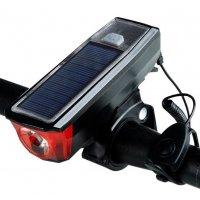 Велофонарь-звонок 4 режима в комплекте с габаритными огнями HJ-052 с креплением на трубу (зарядка USB/microUSB/солн.батареи) 18650 черный