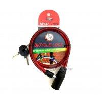 Замок тросовый Bicycle Lock 10х800 мм, 2 ключа красный